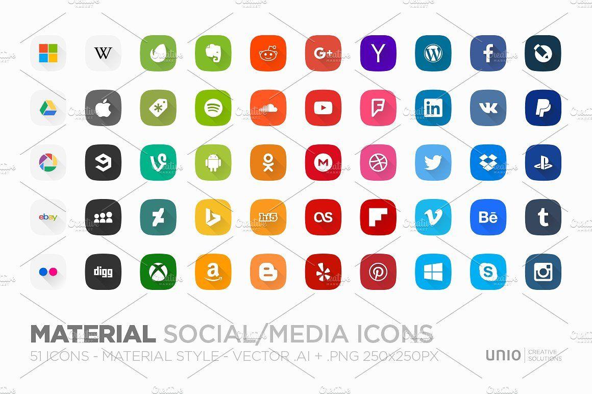 Material Social Media Icons Social Media Icons Social Icons Web Design Icon