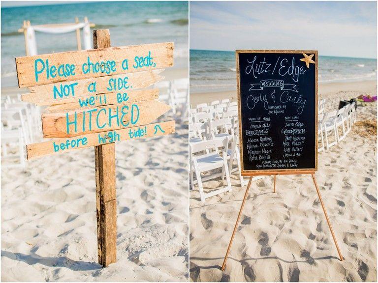 e878a91f33f9 A Very Beachy Blue Coral Wedding In North Carolina | Wedding set up ...