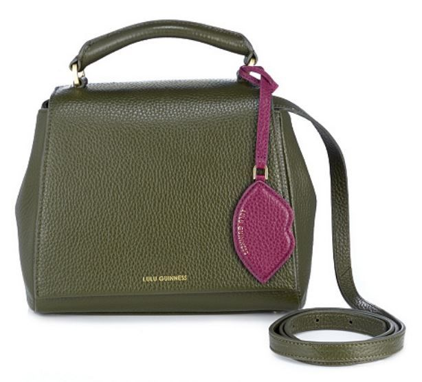 5fbd35897 Lulu Guinness crossbody bag with top handle. Sage Green with Cassis Lips bag  charm. <3