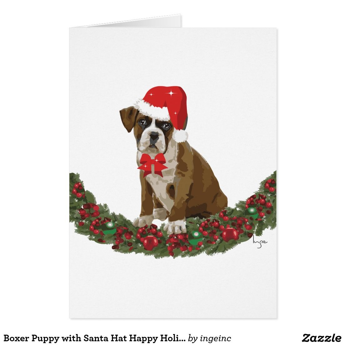 Adorable Boxer Puppy With Santa Hat Holiday Card By Ingeinc Happy Holiday Greeting Cards Happy Holiday Cards Cards