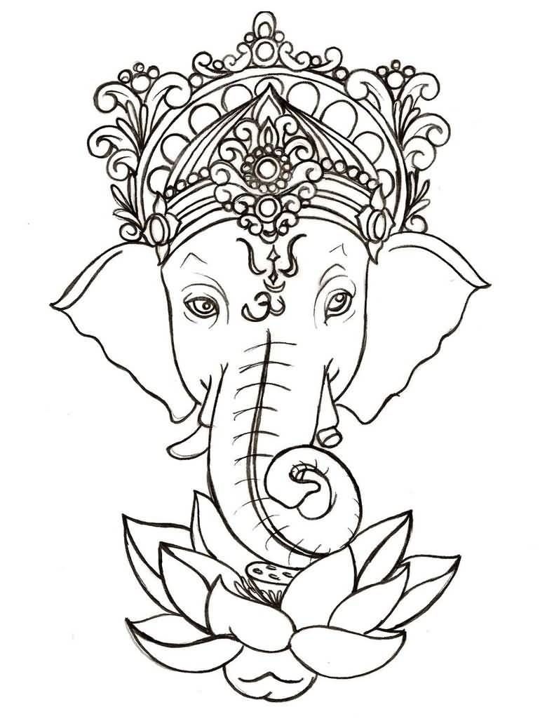 Lord Ganesha And Lotus Flower Tattoo Sample Projekty Na Vyzkouen