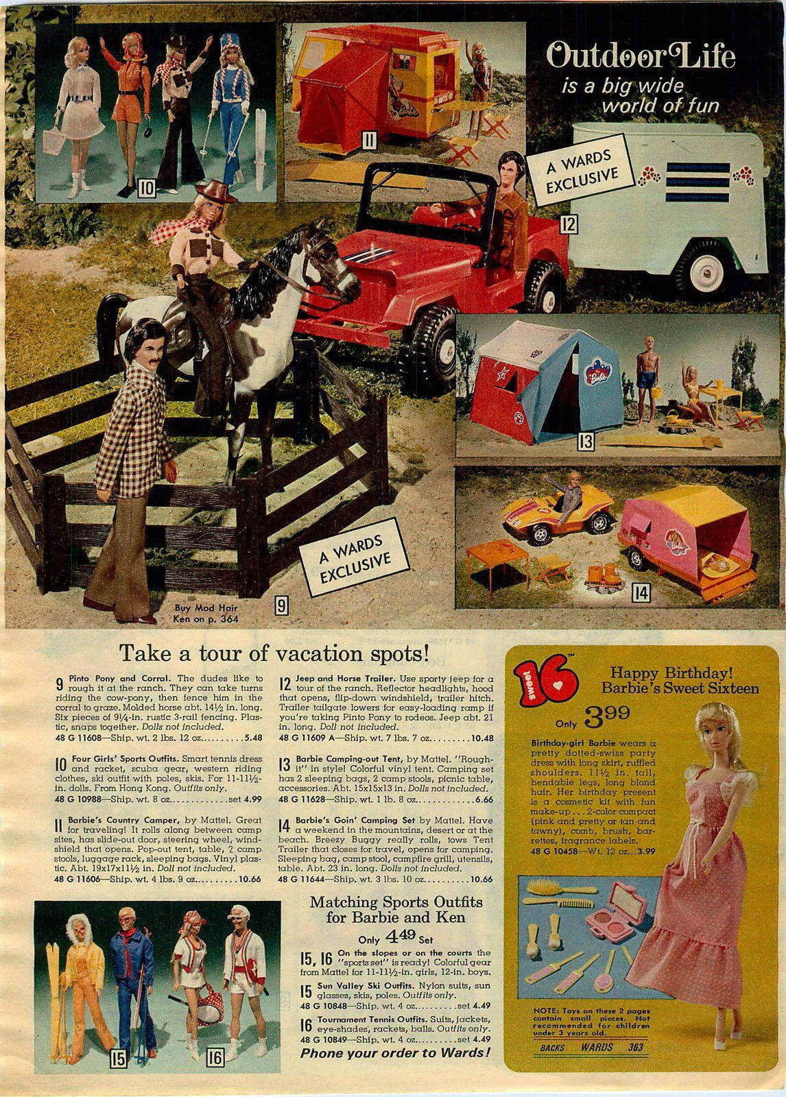 1974 Advertisement Doll 3 Pg Barbie Pool Beach Bus Camper Tent Kitchen Bathroom Barbie Camper Barbie Barbie Booklet