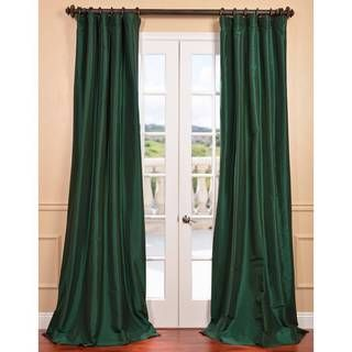 Exclusive Fabrics Emerald Green Faux Silk Taffeta Curtain Panel