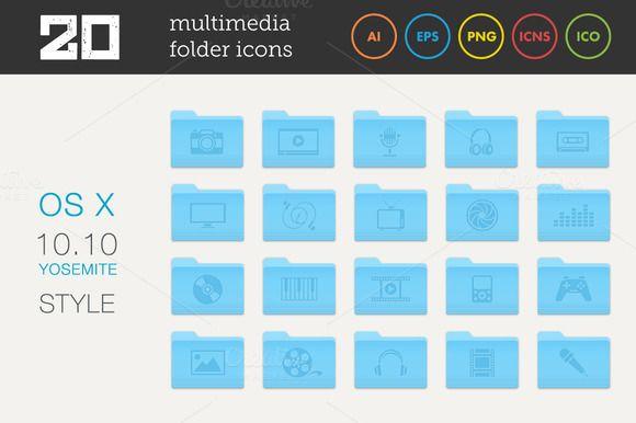 Multimedia Folder Icons Set 1 by MastakA on @creativemarket
