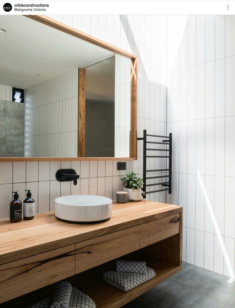 Like the tiles, grout and timber within this bathroom  Just like this ( maybe black grout) #countertop