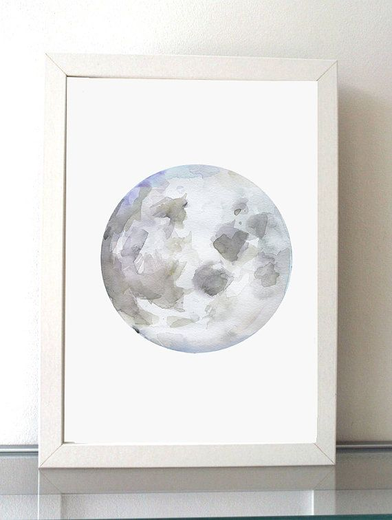 Moon Art Moon Watercolor Painting Giclee Print Lilac Art