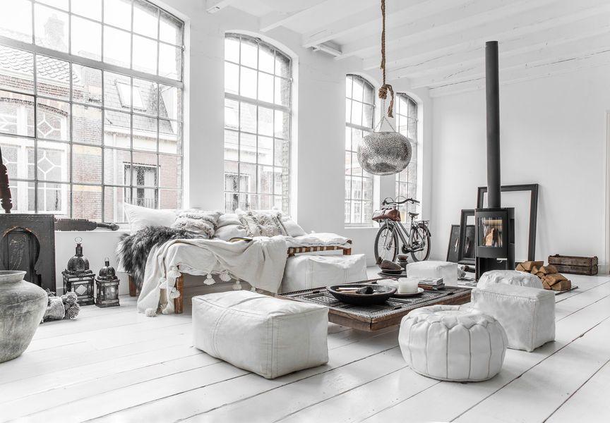 Pouf suorakaide, valkoinen | Zoco Home