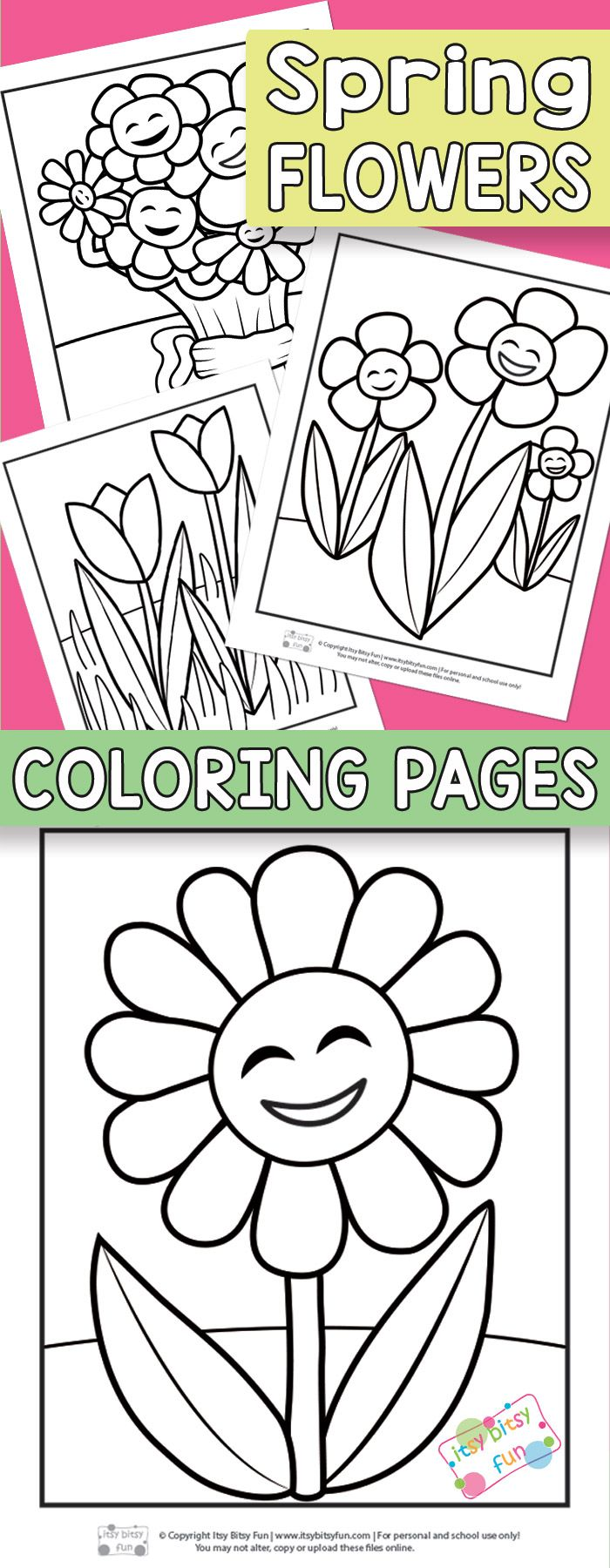 Flower Coloring Pages For Kids Itsybitsyfun Com Spring Coloring Pages Flower Coloring Pages Preschool Coloring Pages