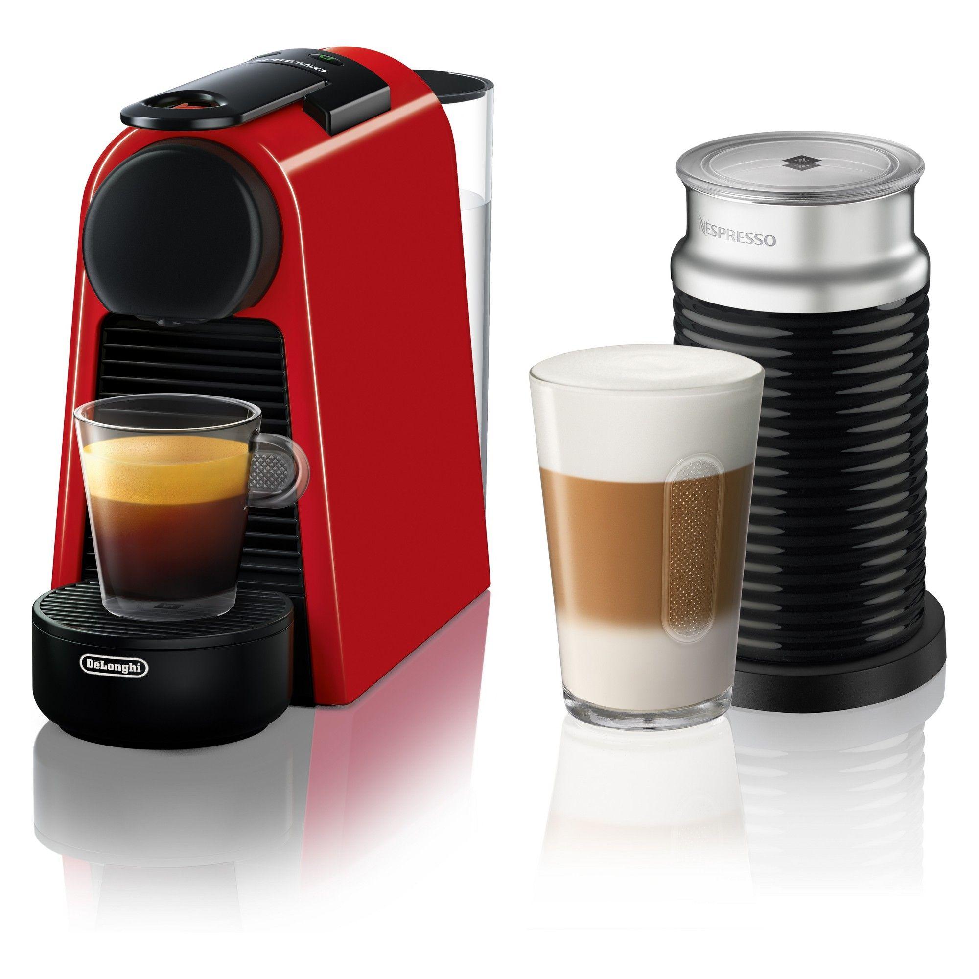 Nespresso Essenza Mini Espresso Machine with Aeroccino Red