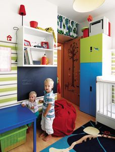 The creative mom used all the space, even over the door …