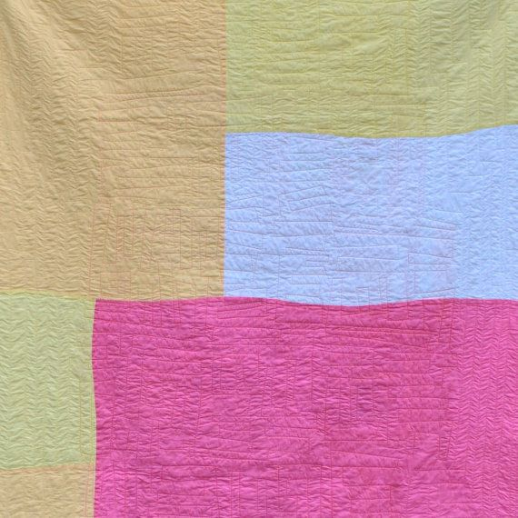 Pink Lap Quilt Modern Quilt Pink Bedding Abstract by TwiggyandOpal