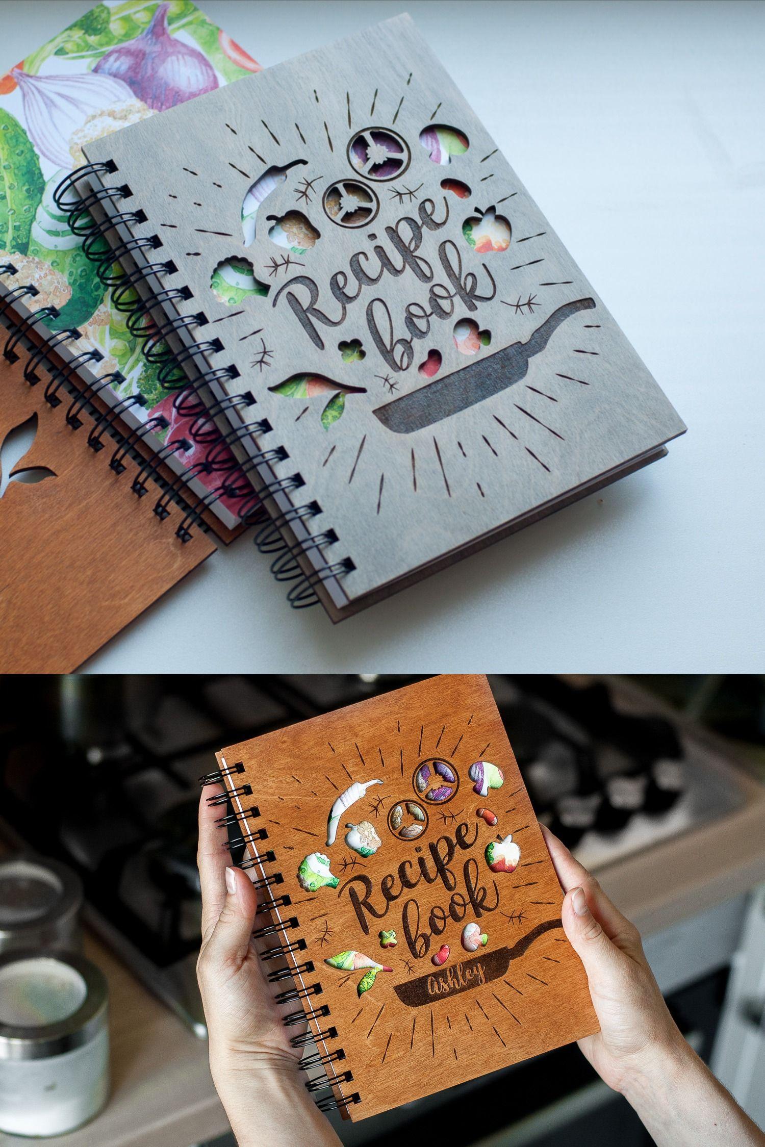 Blank recipe book engraved recipe book wood recipe