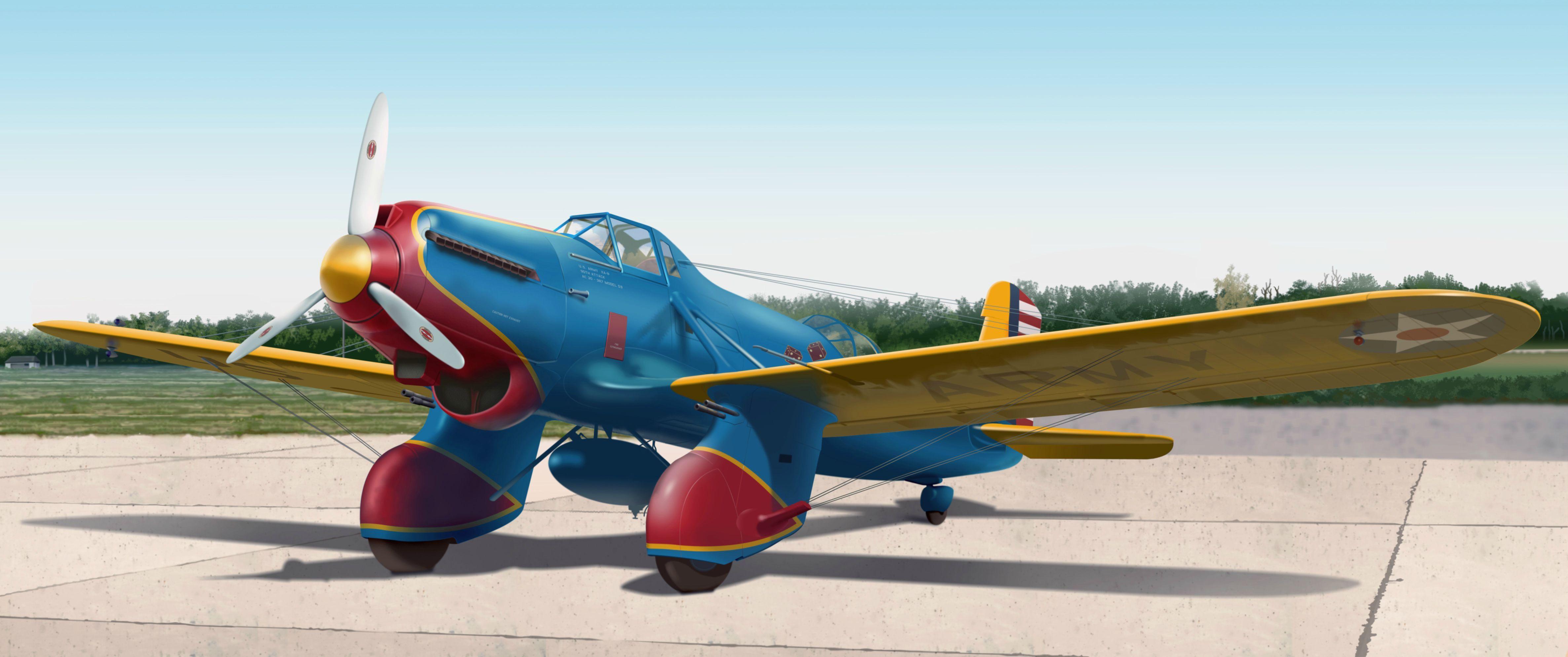 Curtiss A-8 Shrike, ground attack aircraft, 1932. . .