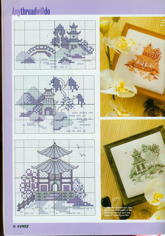 pagodas in cross stitch or perler