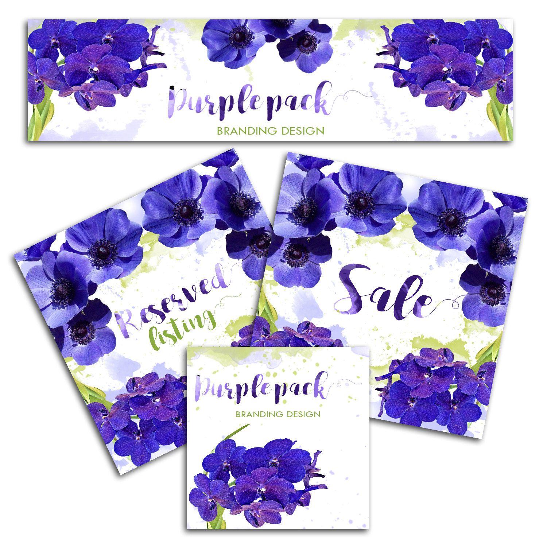 Design banner for etsy - Etsy Shop Graphic Set Purple Floral Etsy Banner Etsy Branding Design Violet Flowers Premade Shop Design