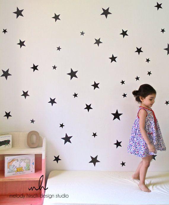 Star Wall Sticker, Black Star Decal, Nursery Wall Decor, Gold Star ...