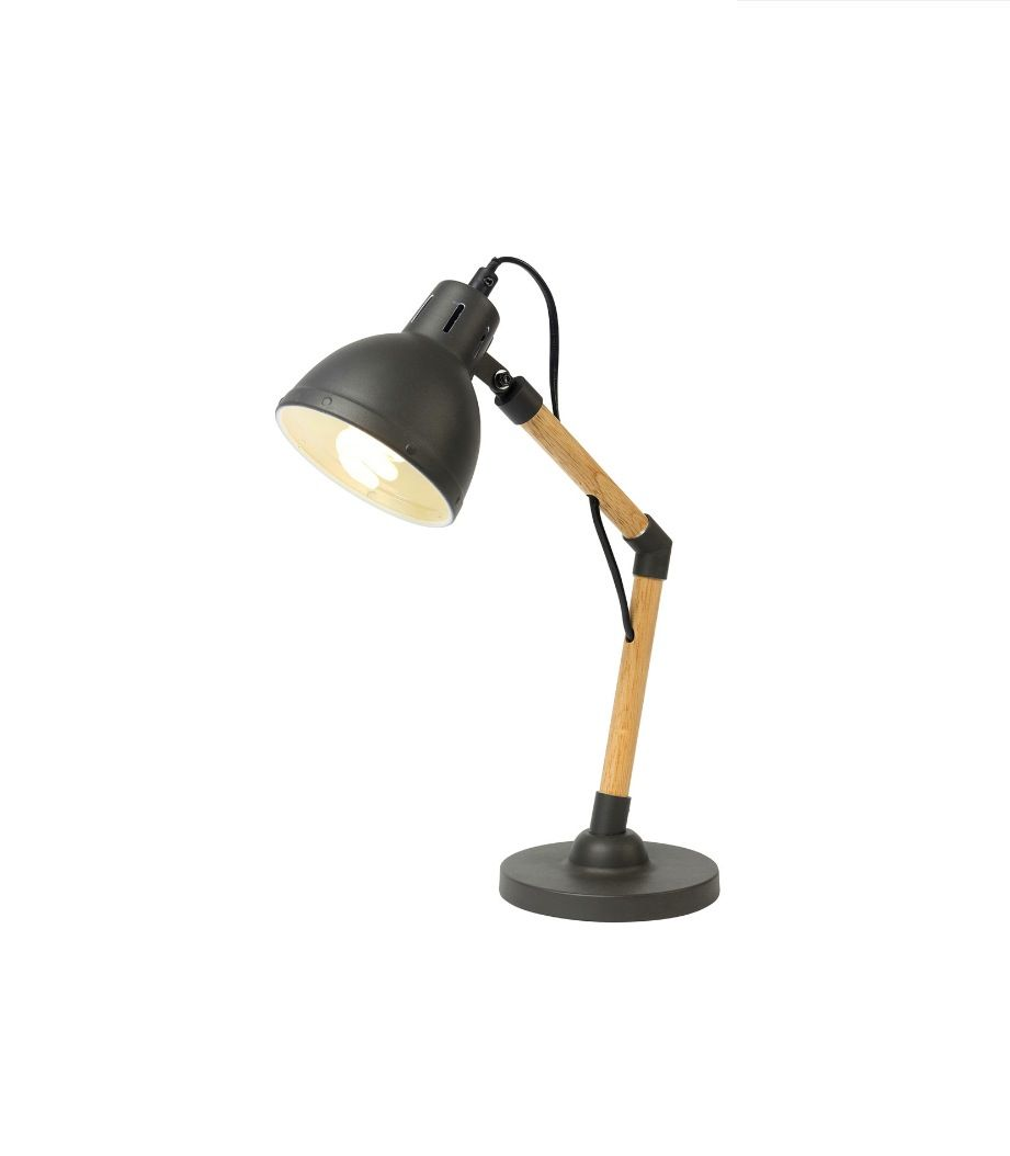 Timber Desk Lamp: Kit Desk Lamp Charcoal & Timber Scandinavian Style Brilliant 18661/51,  $129.00,Lighting