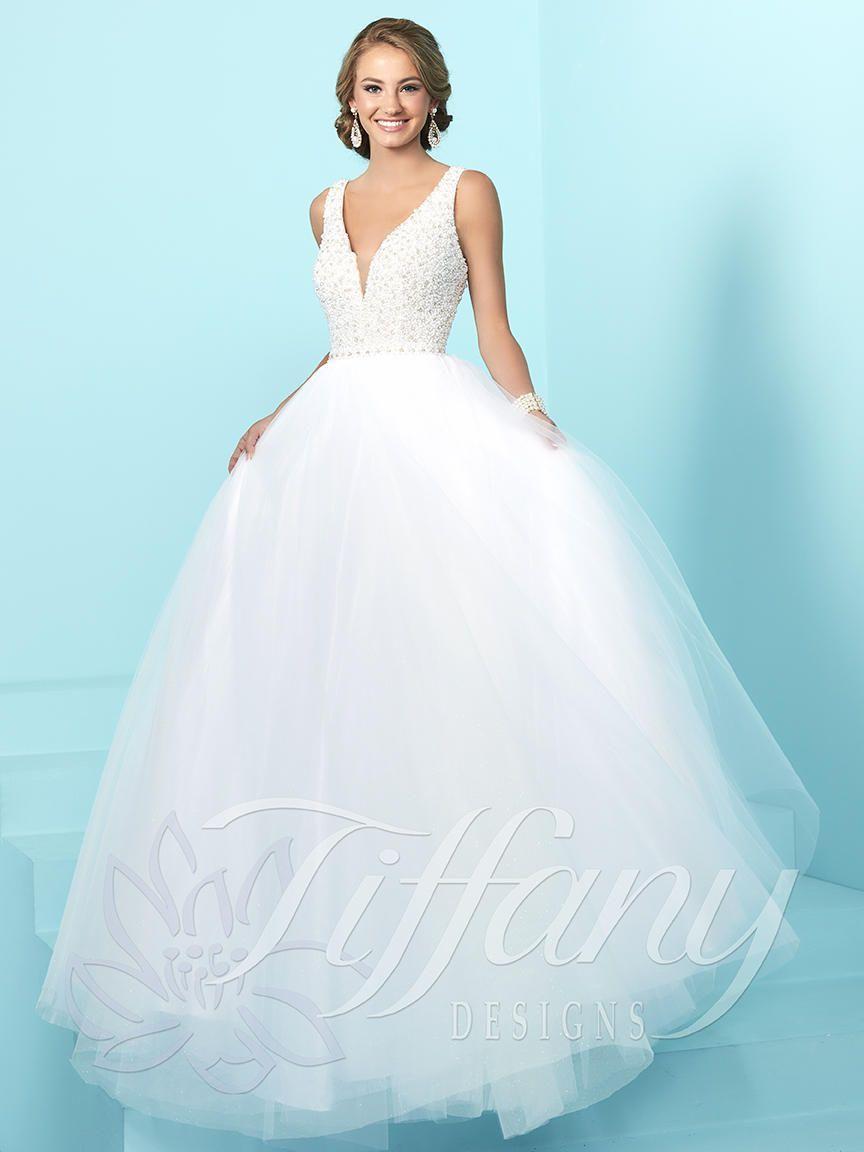 Tiffany Designs 16241 has a deep V neckline with a pearl beaded ...