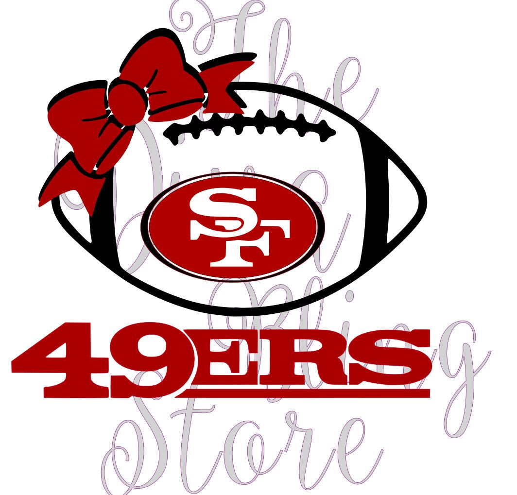 49ers Inspired Football With Bow Svg File By Thedivablingstore On Etsy Svg Design Cricut Design Cricut Crafts