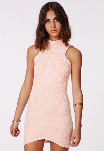 Asha Jaquard Bodycon Dress Pink - Mini Dresses - Missguided