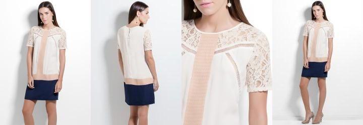 Vestido Colcci Off White com Renda
