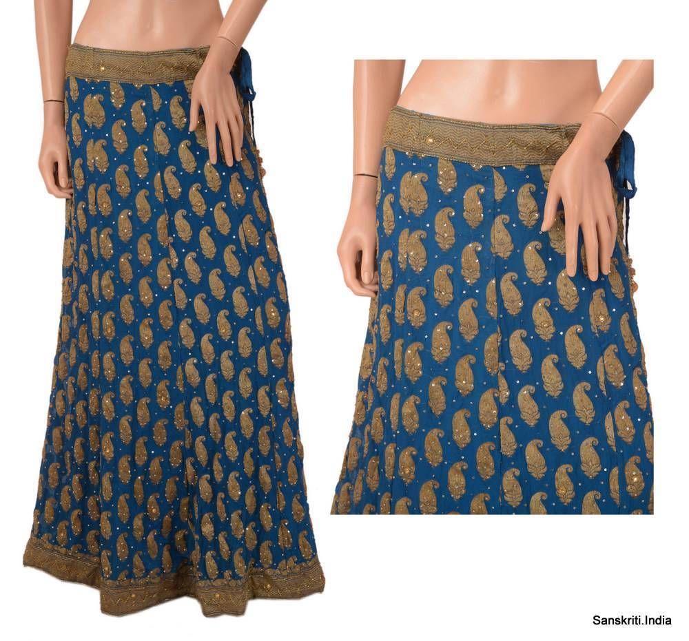 SANSKRITI VINTAGE INDIAN PARTY WEAR LEHENGA HAND BEADED WOVEN LONG SKIRT BLUE Handmade FullSkirt