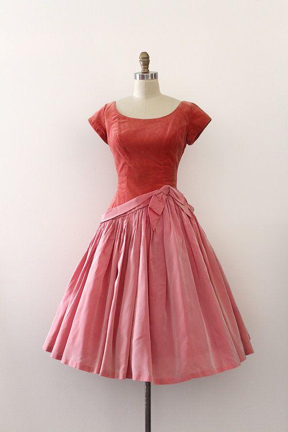 Vintage 1950s prom dress // 50s pink velvet drop waist evening dress ...