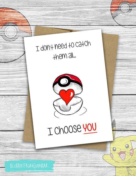 I Choose You | Pokemon | Love | Cute Boyfriend Card | Valentine's Day | Girlfriend | Nintendo | Nerdy Gamer | Pokeball | Catch Them All -  - #giftforboyfriend