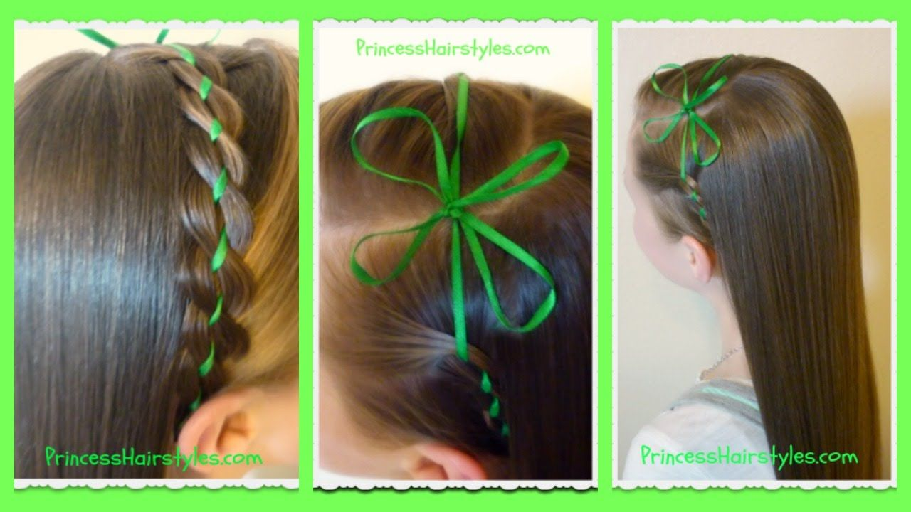 Ribbon Braid Headband And Clover Bow St Patrick S Hairstyle Hair Styles Princess Hairstyles Ribbon Hairstyle