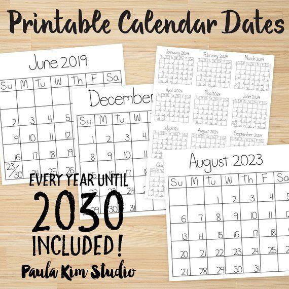 Printable Calendars 2019 2030 Instant Digital Download Images For