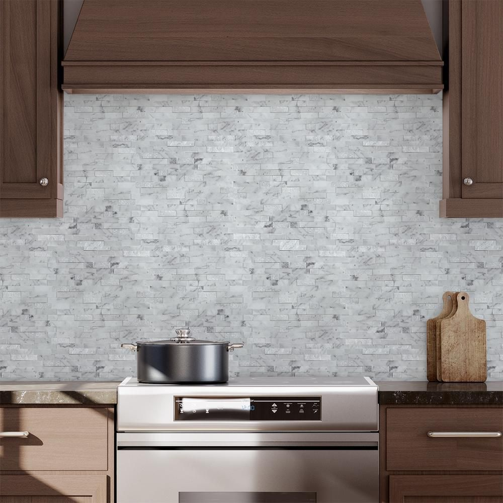 Mto0213 Peel And Stick Classic Linear White Gray Carrara Marble
