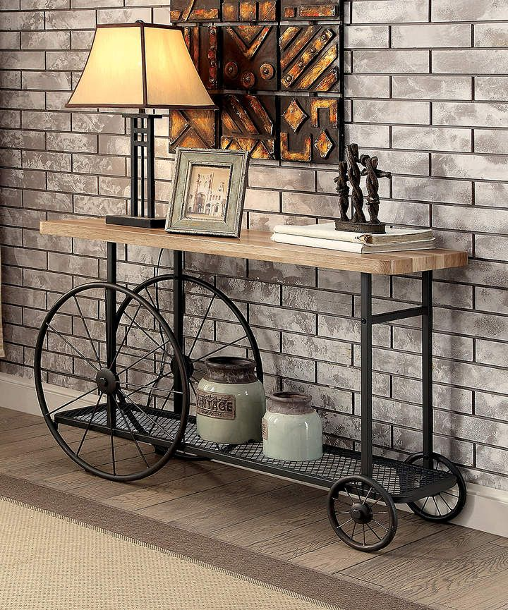 87876891216b Turenel Industrial Wood Console Table. Gorgeous console table with an  industrial moderrn look featuring bike wheels for something different and  creative.