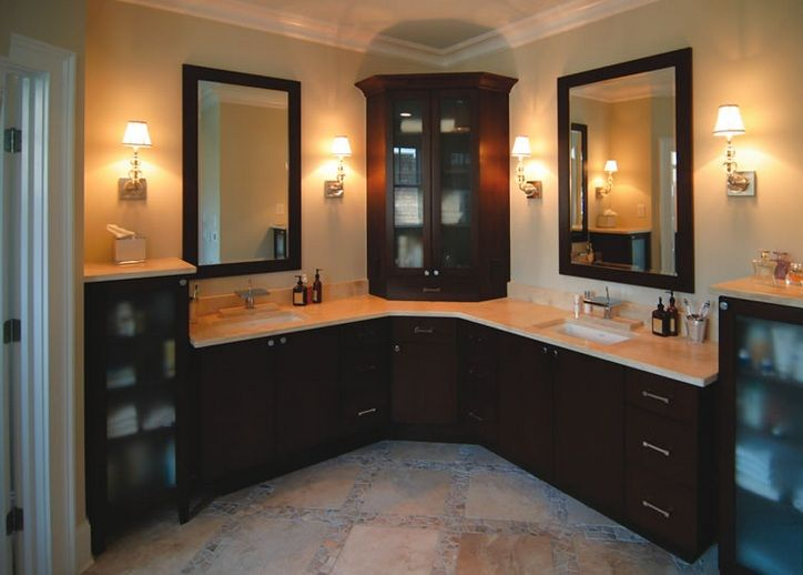Custom L Shaped Bathroom Cabinets Double Sink Decolover Net