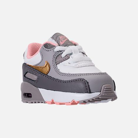 fcdfe7abe5dab1 Three Quarter view of Girls  Toddler Nike Air Max 90 Leather Running Shoes