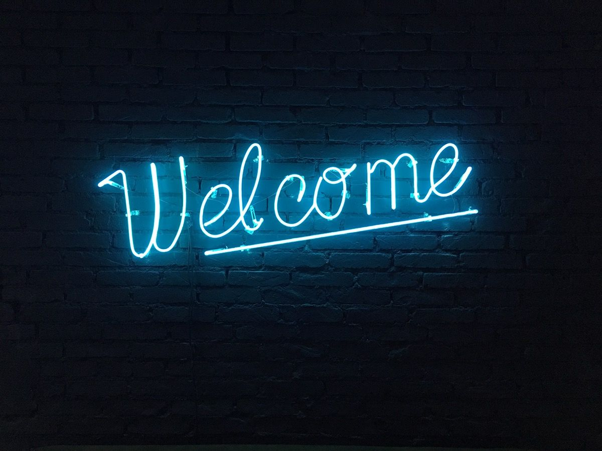 Welcome Neon Lettering Sign On Behance Neon Wall Signs Neon Lighting Neon Signs