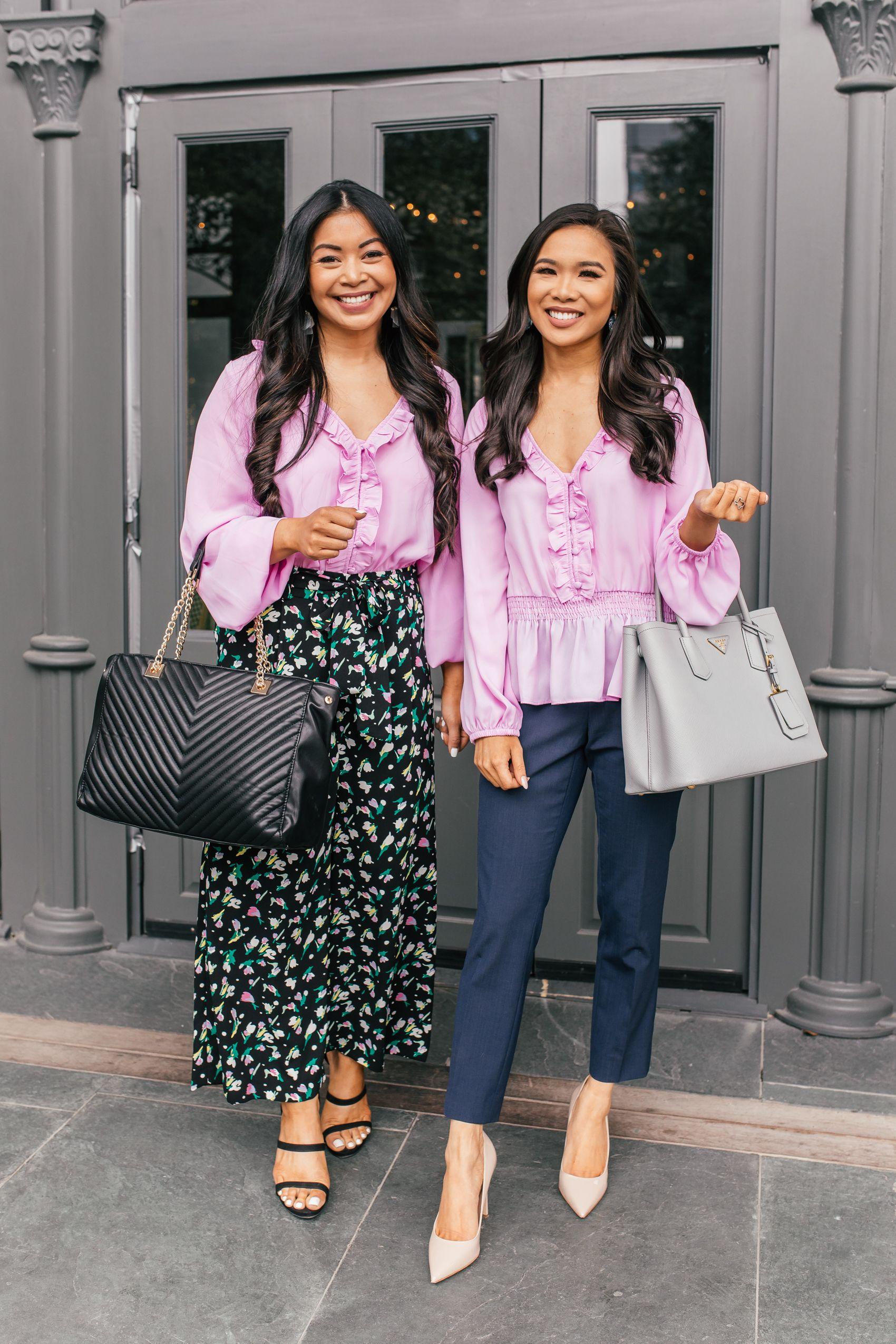 Roselyn and Hoang-Kim style the Roselyn lavender top two ways   capsule wardrobe capsule
