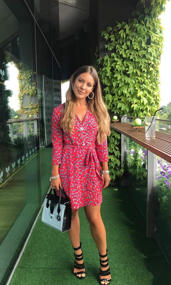 d9dfcab58a3 MIC's Louise Thompson looking beautiful in the SilkFred 'Zeina Wrap In Red  Ditzy'...celebrity, dress, summer, outfit, Made in Chelsea