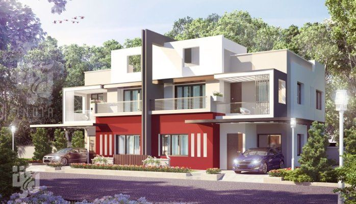 MODERN BUNGALOW ELEVATION DAY RENDERING BY HS 3D INDIA