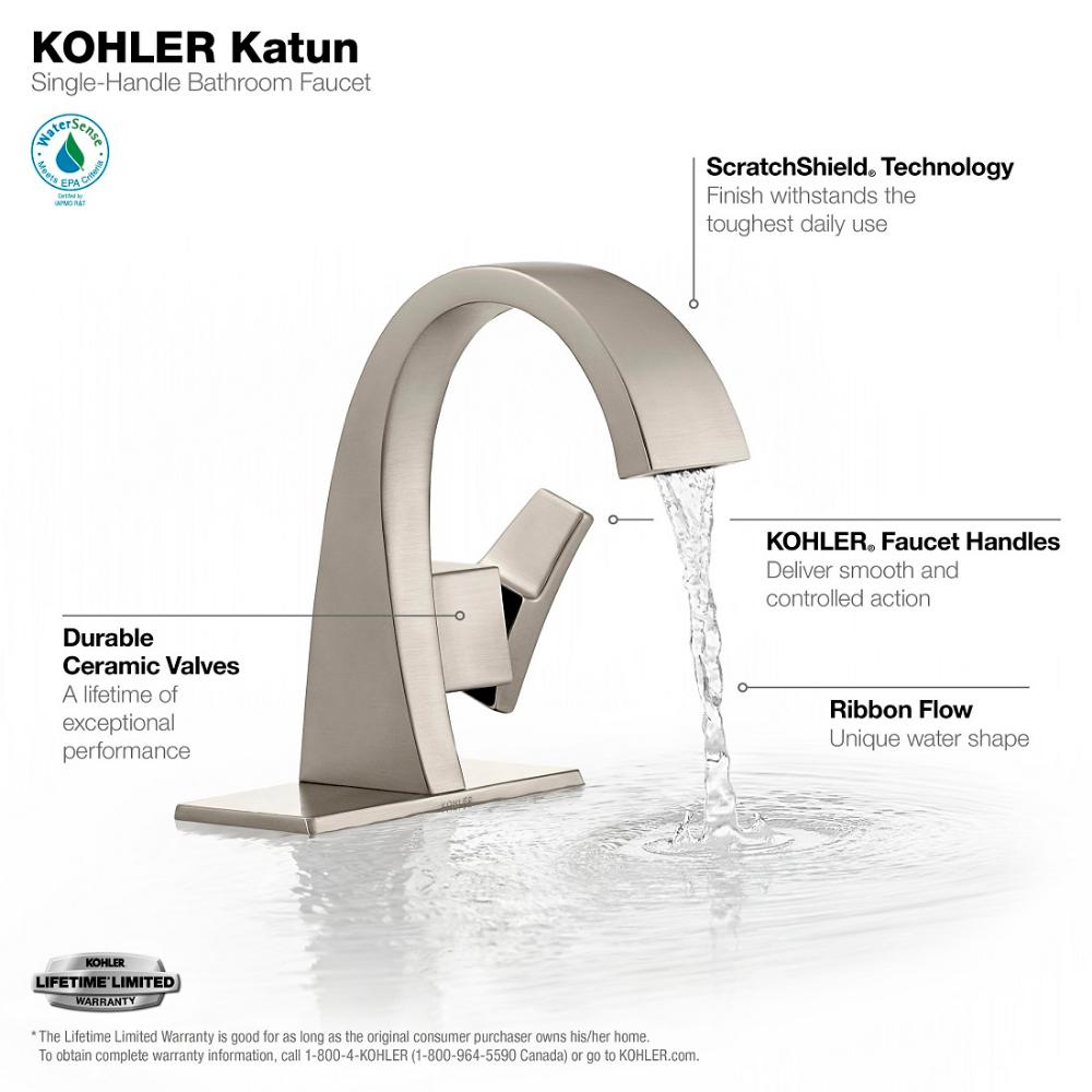 Kohler Katun Single Hole 1 Handle Bathroom Faucet In Vibrant Brushed Nickel K R78037 4d Bn The Home Depot Bathroom Faucets Single Handle Bathroom Faucet Faucet [ 1000 x 1000 Pixel ]