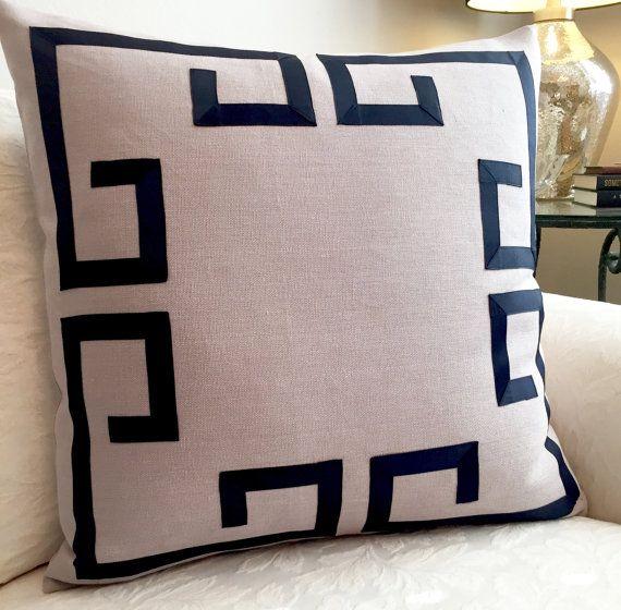 Greek Key PillowFretwork PillowGray PillowNavy PillowGray Interesting Fretwork Decorative Pillow