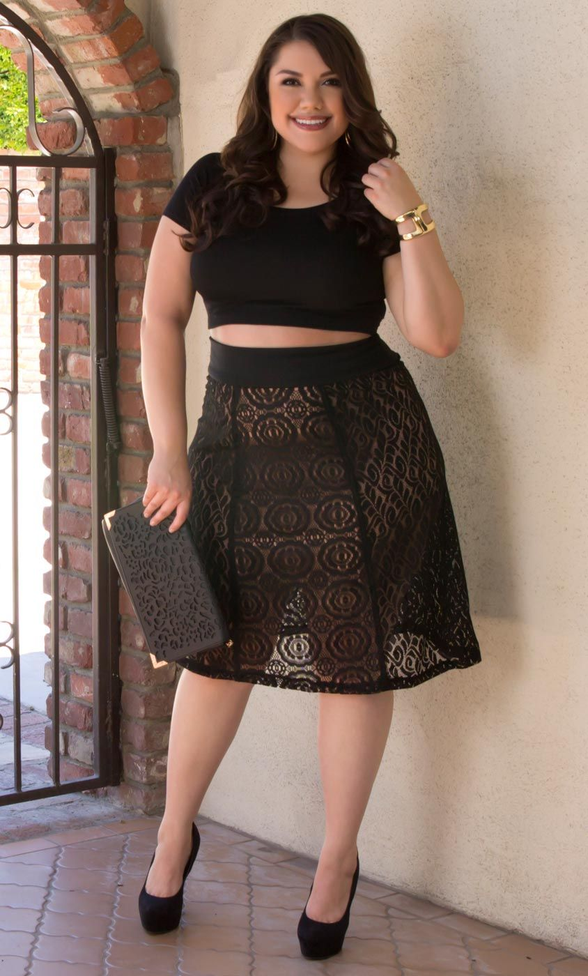a36ba736f3b Stay on trend and don't be afraid to have an edge while flaunting your  curves. Try a crop top with our plus size Muse Lace Midi Skirt.