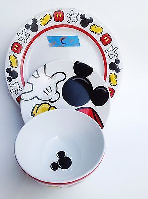 Mickey Mouse Body Parts Disney Dinner Plate Salad Plate Soup Bowl Set Of 3 C & Mickey Mouse Body Parts Disney Dinner Plate Salad Plate Soup Bowl ...