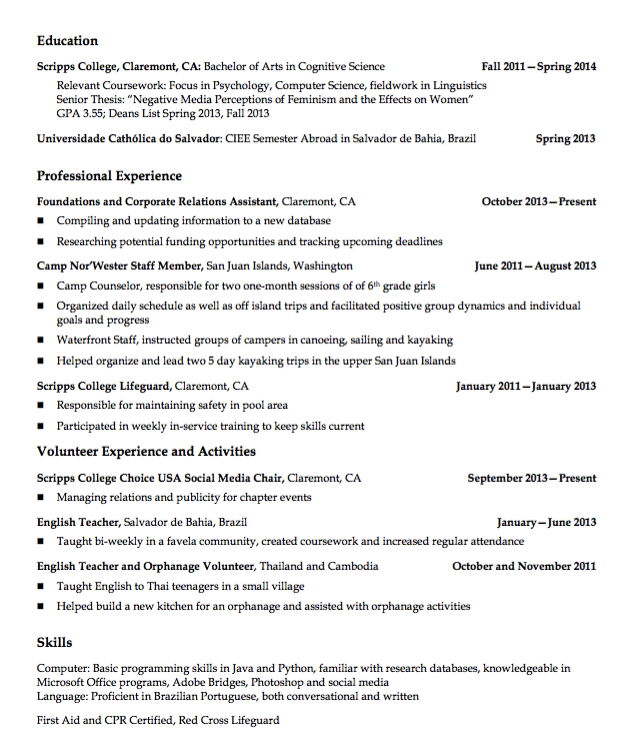 Sample Scripps College Lifeguard Resume Examples Resume Cv Cognitive Science Resume Examples Resume Cv