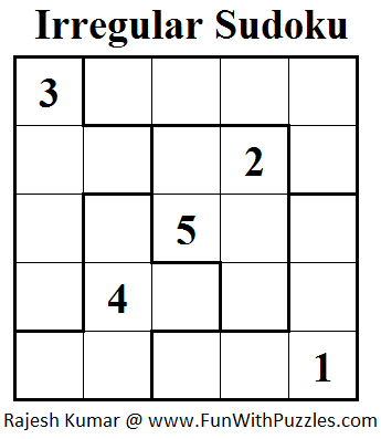 graphic about Jigsaw Sudoku Printable named Jigsaw Sudoku or Abnormal Sudoku (Mini Sudoku Collection #23