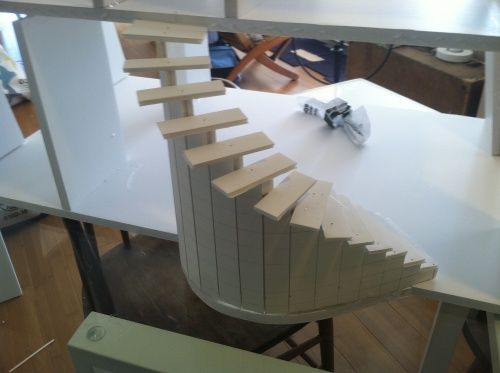 stairs from foamboard wood steps making minis how to pinterest puppen miniatur und. Black Bedroom Furniture Sets. Home Design Ideas