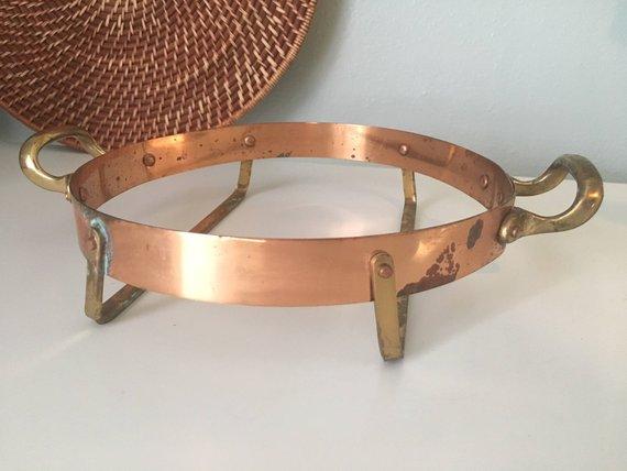 Vintage Copper Metal Pot Holder Hot Plate Holder Brass