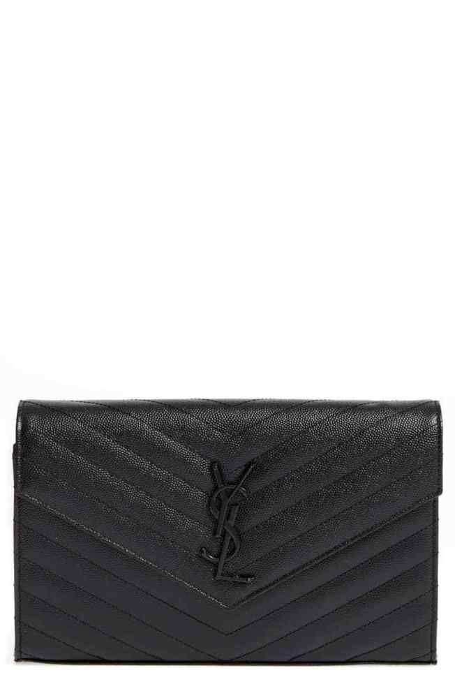 0421c0d61dc AUTH NEW WOMEN YVES SAINT LAURENT MATELASSE CHEVRON WALLET ON CHAIN BAG  CLUTCH  fashion