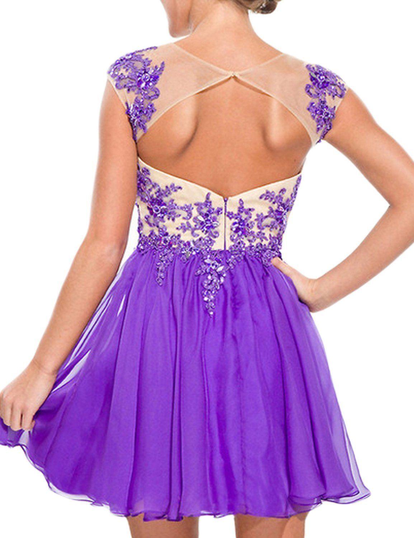 a6d4d43ed24 Amazon.com  LovingDress Womens Homecoming Dress with Applique Open Back Short  Prom Dress  Clothing