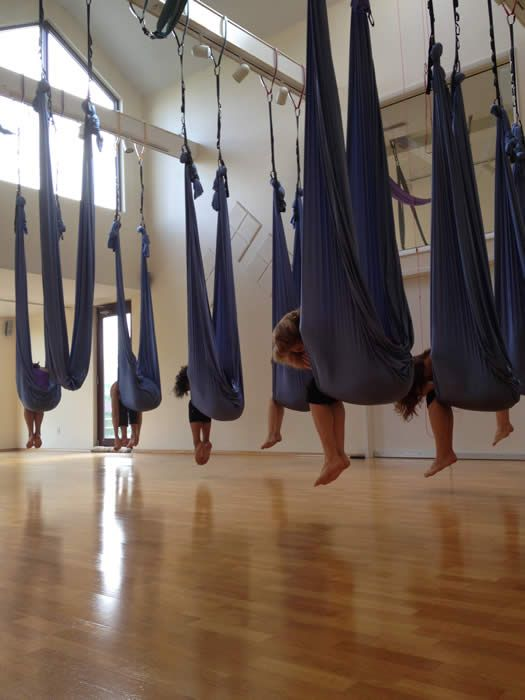 Aerial Yoga - Triangle Yoga (With images) | Aerial yoga ...