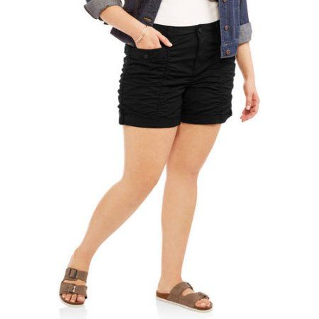 8b212909f3 Plus Size Faded Glory Women s Plus Ruched Shorts
